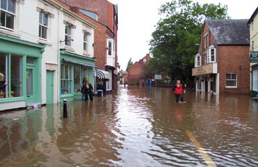 The floods looking down cross street